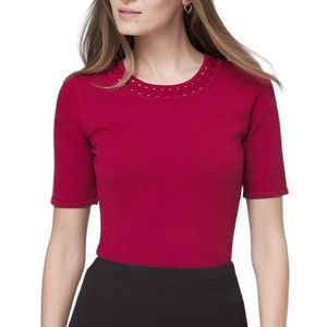 WHBM Cutout Detail Red Knit Top
